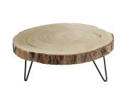 Creative Co-Op Paulownia Wood Pedestal with Metal Legs, Brown