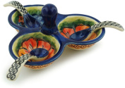 Polish Pottery Condiment Server with Spoons 13cm Bright Beauty UNIKAT