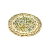 2 Pcs Classic Round Placemats Embroidery Placemats Dining Table Mats