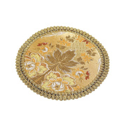 2 Pcs Dining Table Placemats European Style Embroidery Placemats Round