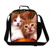 Dispalang Cute Cat Printing Lunch Bags for Children Small Messenger Insulated Cooler Bags for Girls Kids Lunch Box Bags