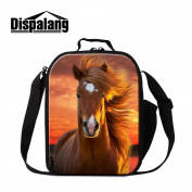 Dispalang Horse 3D Printed Lunch Bags for Children Small Insulated Cooler Bag Messenger Lunch Box Bags