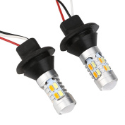 2X 1156 BA15S 35W 20SMD DRL Turn Signals Tail Reverse LED Light White/Amber