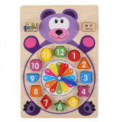 Wooden Shape Sorting Clock Learn to Tell Time Counting with Numbers Puzzles for Toddlers