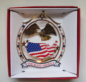 God Bless America Christmas ORNAMENT Patriotic Eagle USA Flag