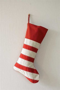 Festive Striped Red & White Cotton Christmas Stocking