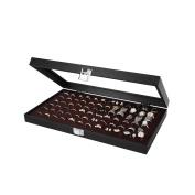JackCubeDesign Jewellery Ring Display Organiser Storage Box Case Tray Holder with 72 Slot Ring Display(Black, Inside Brown Velvet, 14.7 x 21cm x 5cm )-MK248B