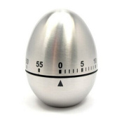 Dimart Stainless Steel Egg Kitchen Count-Down Timer - Mechanical Drive Cooking Loud Alarm - Silver
