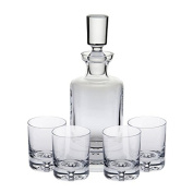 Ravenscroft Crystal 125th Anniversary Kensington Decanter Set. Specially Designed with a Heavy Base and Decorative Bubble for the Most Discerning Spirits Enthusiast. Includes 4 Crystal DOF Glasses and a Handmade European Lead-free Crystal Decanter.