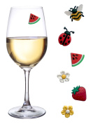 Wine Glass Charms Magnetic Drink Markers Set of 6 Fun Summer Cocktail Identifiers with 2 Flowers plus Bee Ladybug Watermelon and Strawberry Wine Tags
