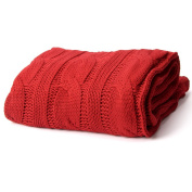 Battilo Soft Knitted Dual Cable Throw Blanket, 130cm W x 150cm L, Red