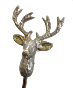 Stag`s head silver coloured hinged bell candle snuffer with handle