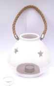 White Ceramic Lantern with Star & Dimple Detail with Hessian Rope Handle