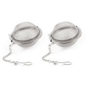 TOOGOO(R) 5.1cm Dia Stainless Steel Tea Infuser Ball Tea Strainer 2 Pcs w Chain