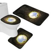 Bearbae Bathroom Mat Set Soft Flannel 3 Piece Bath Mat Pedistal Rug and Toilet Cover