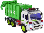 CHIMAERA Light Up and Sound Friction-Powered Green Garbage Trash Recycle Truck Toy for Toddlers