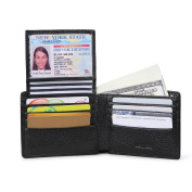 AECCEZ Men's RFID Blocking Genuine Leather Wallet - Excellent Travel Bifold - ID Credit Card Protector - RFID Blocking Wallets for Men AE111 Black