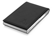 The Package Group LLC Black Leather Vertical Business Card Holder Card Case with Magnetic Closure