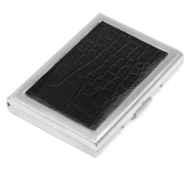 Sourcingmap Faux Leather Metal Alligator Printed Business Card Case - Black