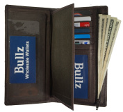 Bullz Genuine Leather Bifold Long Credit Card- Chequebook Cover Holder Wallet