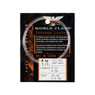 Fenwick WC4X9 World Class Tapered Leaders with 2.3kg Line Test, Clear, 25-Yards