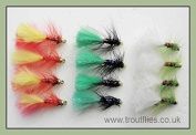 Trout Fishing Flies, Mini Lures, 12 Per pack Three colours Mini Dancers, Size 12