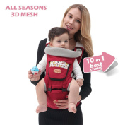 ISEE Baby Carrier | 10 in 1 Safe & Comfortable Carry Ways with Detachable Hip Seat | Unisex Colour & One Size Fits All | Cotton/Spandex Comfort Fabric | Best Baby Registry Ideal Gift | 100% Infinity Guarantee
