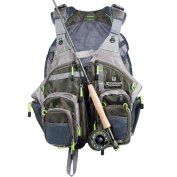 Elkton Outdoors Lightweight Universal Fit Fly Fishing Vest Backpack With Fly Storage Compartments and Rod Holders / Fly Fishing Vest Pack / Fishing Vest Mesh