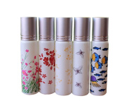 5PCS 10ML Empty Refillable Glass Roll on Bottles Essential Oil Perfume Roller Bottles with Silver Tone Cap Attar Bottles