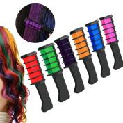 Hair Chalk Comb,ANGTUO Temporary Hair Colour Cream Dye Hair DIY 6Pcs