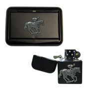 Matte black horse and jockey tobacco tin and stormproof petrol lighter