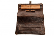 """Original Kavatza P12 """"Ethnic"""" Wallet in Antique Brown Leather with Paisley Pattern"""