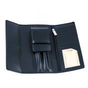 Genuine Leather Pen & Bank Cards Travel Case in Black Colour