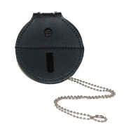 Boston Leather Leather Circle Badge Holder with Neck Chain & Clip Back