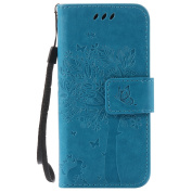 BONROY® Magnetic Flip Cover for Apple iPod Touch 5/6,Cat and tree theme series Embossing Wallet Case with Hand Strap for Apple iPod Touch 5/6, Premium PU Leather Folio Style Retro PU Leather Wallet Flip with Card Slots and and Stand Function Case Cover ..