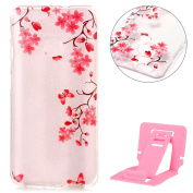 Ekakashop Colourful Painting TPU Bumper Cover,Huawei Nova Transparent Gel Crystal Silicone Soft Case,Funny Cute Pattern Clear Case Shock Proof Protective Rubber Cases Cover for Huawei Nova with Ekakashop Kickstand (Colour Random) -- Pink Flower