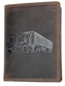 Strong Genuine Leather Wallet without Fabric Lining with a Truck