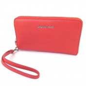 """Wallet + chequebook holder zip / leather pouch 'Gianni Conti'red - 18.5x11x2.5 cm (7.28""""x4.33""""x0.98"""")."""