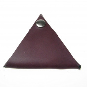 Burgundy Leather UK Handmade Triangle Wallet Coin Purse Press Stud Double Sided