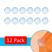 WOSON 12 Pack Soft Clear Table Corner protectors Baby Child Safety Corner Guards Desk Table Edge Furniture Corner Protectors with Strong Adhesive