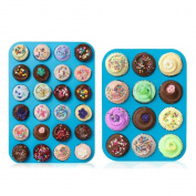 Joyoldelf Silicone Muffin Pans Tins Set - 24 Cup Mini Muffin Tray & 12 Cup Large Cupcake Baking Pan, Nonstick Kitchen Bakeware Moulds for Cupcakes, Cheesecakes and Fairy Cakes, Blue