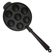Carl Victor 22 cm Pre-Seasoned Cast Iron Seven Hole Aebleskiver Danish Pancake Pan, Wooden Handle, Black