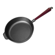 Carl Victor 25 cm Pre-Seasoned Cast Iron Saute / Frying Pan with Wooden Handle, Black