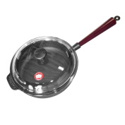 Carl Victor 25 cm Pre-Seasoned Cast Iron Saute / Frying Pan With Wooden Handle And Glass Lid, Black