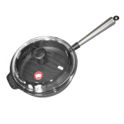 Carl Victor 25 cm Pre-Seasoned Cast Iron Saute / Frying Pan With Stainless Steel Handle And Glass Lid, Black
