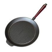Carl Victor 28 cm Pre-Seasoned Cast Iron Griddle Pan with Wooden Handle