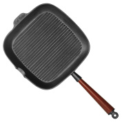 Carl Victor 28cm Pre-Seasoned Cast Iron Square Griddle Pan with Wooden Handle
