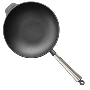 Carl Victor 30 cm Pre-Seasoned Cast Iron Wok Pan with Stainless Steel Handle, Black