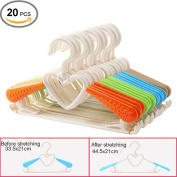 Da Jia Inc 20 Pcs Adjustable Multi-functional Plastic Anti-slip Telescopic Clothes Hanger Drying Storage Hanging Rack for Kids And Adults