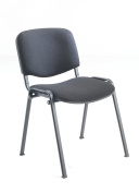Office Hippo Heavy Duty Stackable Reception Chair - Black Frame, Black Fabric